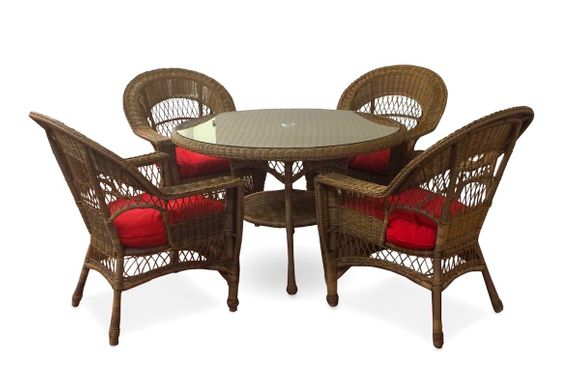 Outdoor Wicker Dining Set of 5: Cape Cod Style