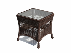 Outdoor Wicker End Table - Princeton Shown In Chocolate Brown