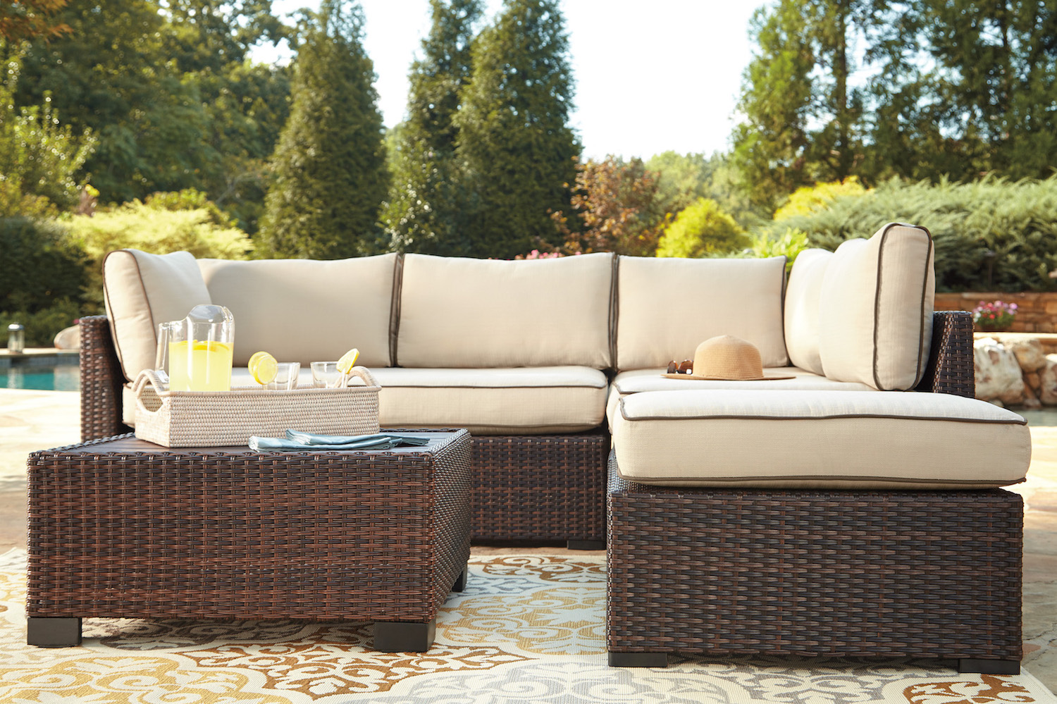 Outdoor Wicker Sectional And Table