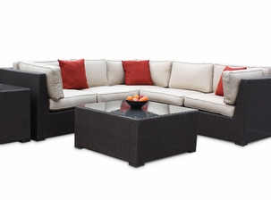 Outdoor Wicker Sectional - Sunbrella Antique Beige Fabric