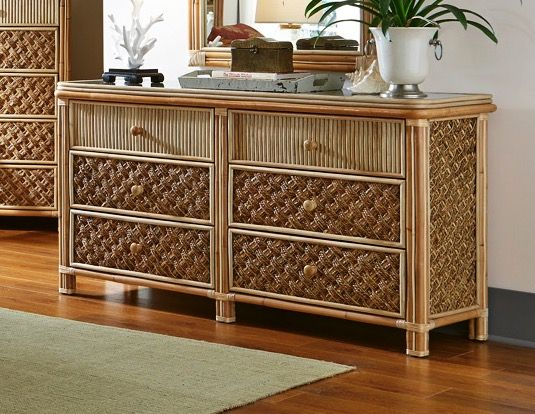 Palm Bay Rattan Six Drawer Dresser