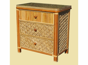 Palm Bay Rattan Three Drawer Dresser