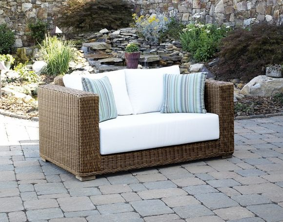 Outdoor Wicker Loveseat   Santa Barbara