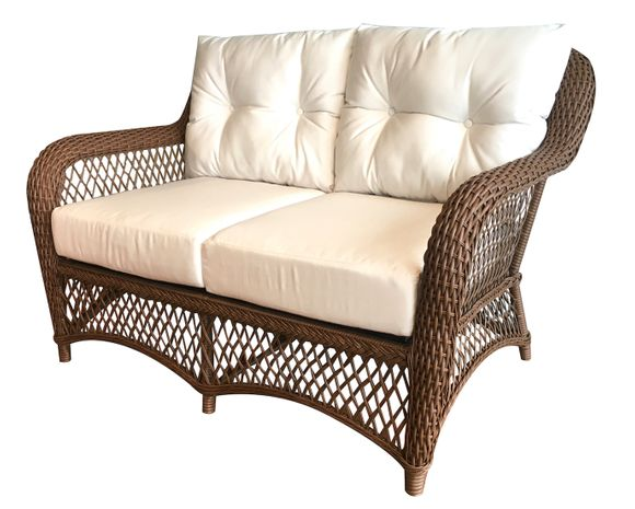 Patio Wicker Loveseat with Sunbrella- Charleston Collection