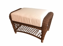 Patio Wicker Ottoman with Sunbrella- Charleston Collection