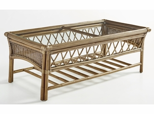 Pensacola Wicker Coffee Table with Glass Top