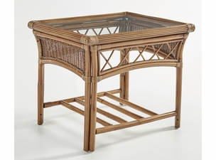 Pensacola Wicker End Table with Glass Top
