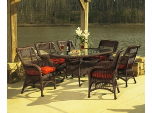 Princeton Outdoor Resin Wicker Oval Dining Set Of 7 & Outdoor Wicker Dining | All Weather Wicker Patio Furniture