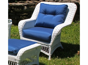 Princeton Outdoor Wicker Chair- Ships in Days- White with Sapphire Blue Sunbrella Cushions