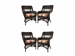 Princeton Outdoor Wicker Dining Chairs Set of 4 - Chocolate Brown