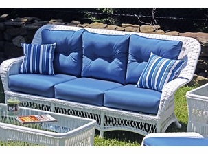 Princeton Outdoor Wicker Sofa- Ships in Days- White with Sapphire Blue Sunbrella Cushions