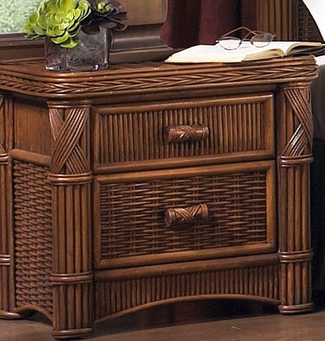 Rattan 2 Drawer Nightstand - Barbados