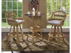 Rattan Bar Stool Set of 3: Tropical Breeze Rattan