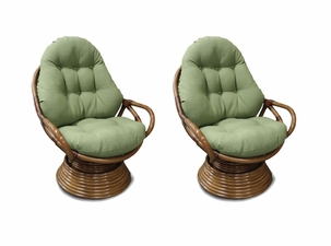 Rattan Swivel Rockers/Set of 2
