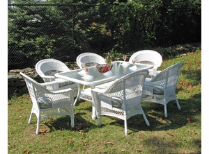 Resin Wicker Dining Set Cape Cod Set of 7 & Outdoor Wicker Dining | All Weather Wicker Patio Furniture