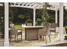Roslyn Outdoor Wicker High Dining Set with Firepit Table