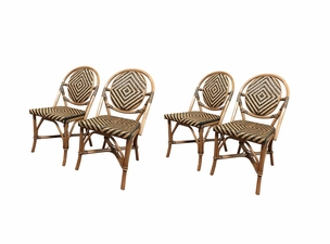 Safari Rattan Armless Dining Chairs - Set of 4