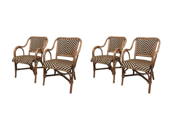 Safari Rattan Dining Arm Chairs - Set of 4
