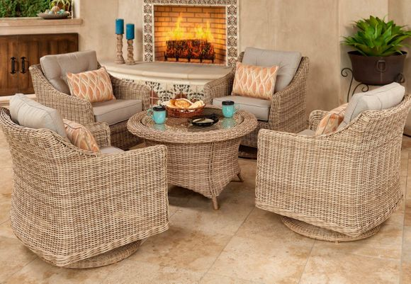 San Jose Outdoor Wicker Chat Set of 5