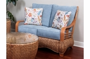Seagrass and Wood Loveseat