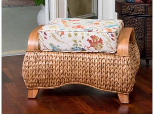 Seagrass and Wood Ottoman
