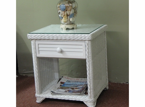 Shutter Front Wicker 1 Drawer Nightstand With Glass Top