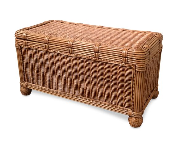 Small Wood Lined  Wicker Trunk - Savannah