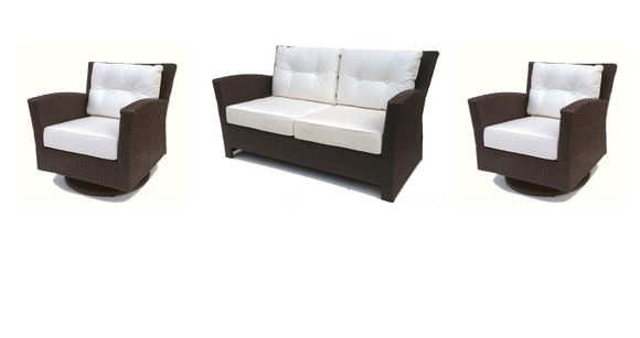 Sonoma Outdoor Wicker Set of 3- Loveseat and 2 Swivel Rockers