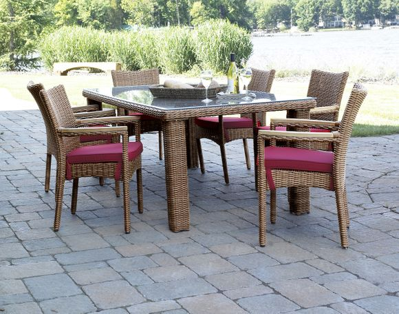 Outdoor Wicker Dining Set of 7 - Santa Barbara