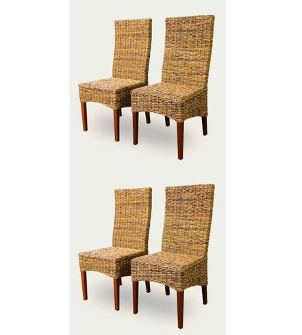 Four Paris Seagrass Dining Chairs