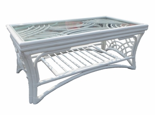 Warwick White Rattan Coffee Table with Glass Top