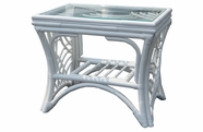 Warwick White Rattan End Table with Glass Top