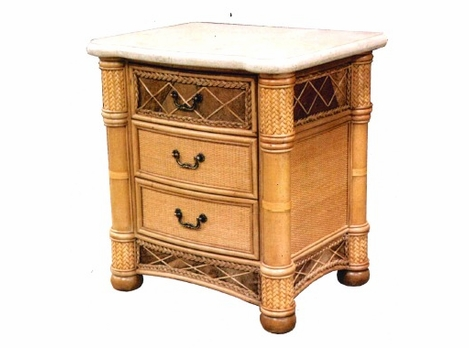 West Palm Rattan 3 Draw Nightstand-Sold OUT