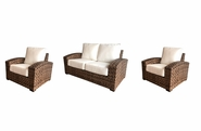 Westbury Outdoor Wicker Set of 3- Loveseat and 2 Lounge Chairs