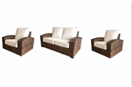 Westbury Outdoor Wicker Set of 3: Loveseat and 2 Swivel Rockers
