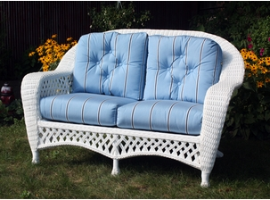 White Outdoor Wicker Loveseat: Montauk Collection