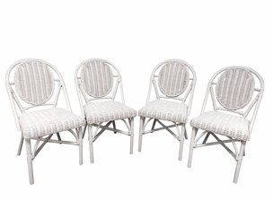 White Wicker set of 4 dining chairs