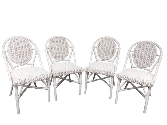 Orienta  White Wicker set of 4 dining chairs