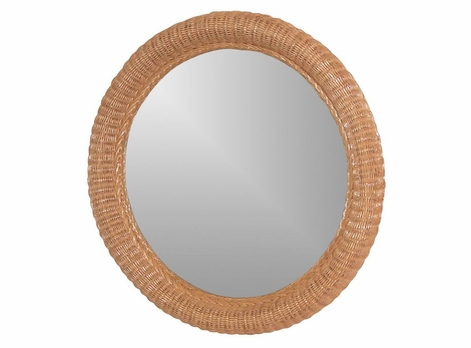 "Wicker 30"" Round Mirror"