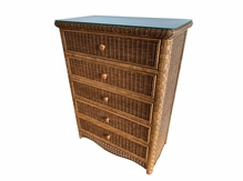 Wicker 5 Drawer Chest Kona