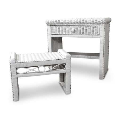 Wicker Desk and Bench
