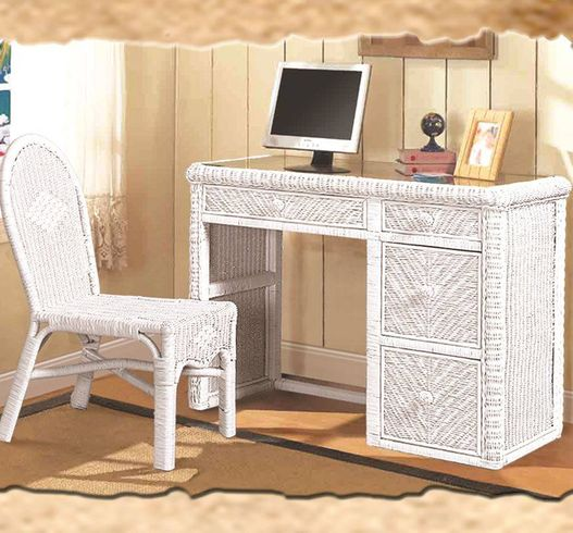 Wicker Desk and Chair With Glass Top