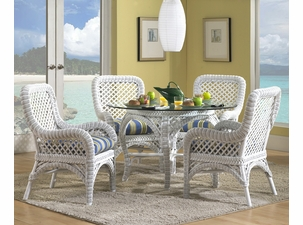 Wicker Dining Set   Lanai White