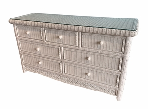 Wicker Double Dresser Kona With Glass Top