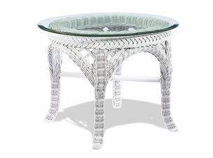 Wicker End Table - Lanai White
