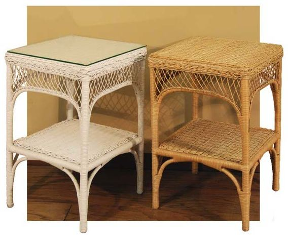 Superieur Wicker Lattice End Table With Glass Top 26