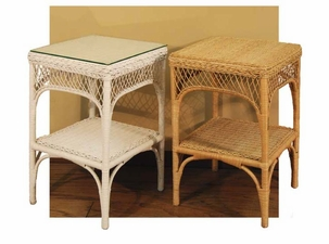 Wicker Lattice End Table with Glass Top