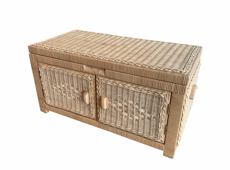 Wicker Storage Trunk Wood Lined Double open Small