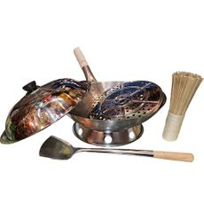 "The Wok Shop's 14"" Carbon Steel Hand-Hammered Pow Wok Set, 6 pcs"