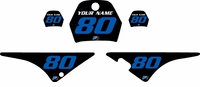 Yamaha PW80 Custom Pre-Printed Black Background - Blue Numbers by Factory Ride